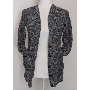 American Eagle | White Black Open Cardigan Sweater